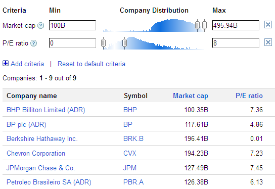 google stock screener screenshot